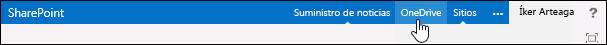 El vínculo de OneDrive lleva a OneDrive para la Empresa de Office 365