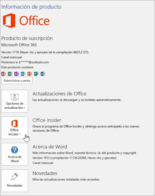 Participar en la aplicación de Office Insider.