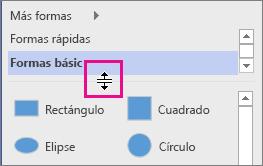 Haga clic y mantenga pulsado el botón para mover la línea divisoria de la ventana Formas