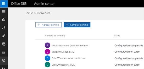 En la página Administrar dominios, haga clic en Comprar dominio