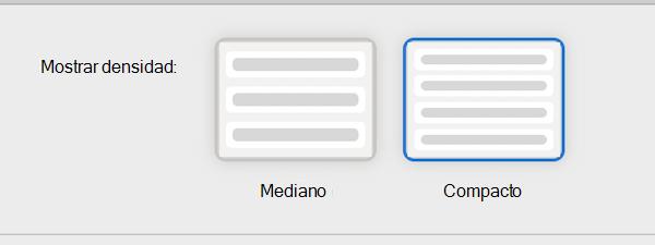 Mostrar configuración de lectura de densidad