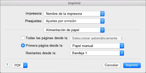 Al seleccionar Alimentación de papel en el cuadro de diálogo Imprimir, puede seleccionar fuentes de papel.