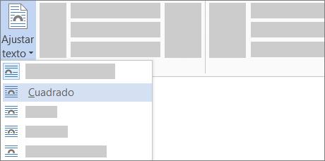 Opciones de Ajustar texto en la cinta de opciones