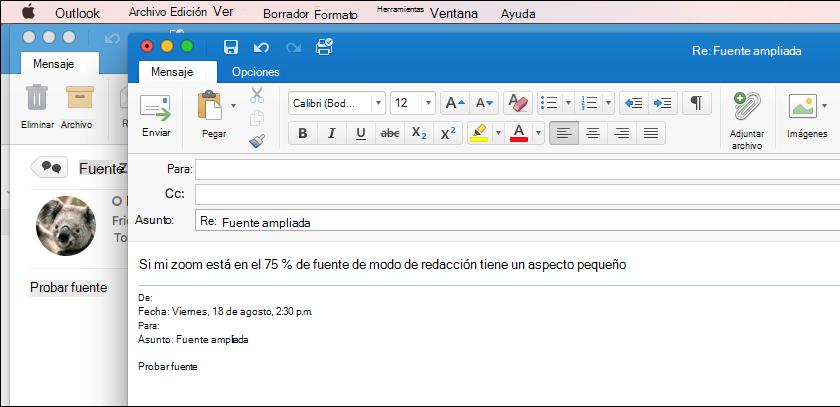 Tamaño de fuente de Outlook para Mac