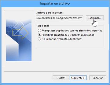 Busque el archivo csv de contactos y elija cómo controlar los contactos duplicados