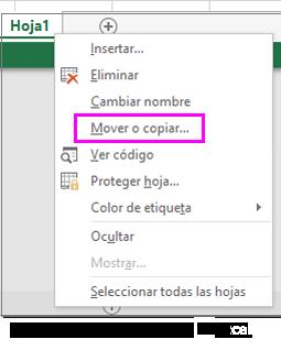 Opción de copiar la hoja disponible en la aplicación de escritorio de Excel