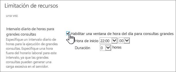 La página de configuración de aplicación de Administración Central con Intervalo diario de horas resaltado
