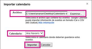 google calendar - cuadro de diálogo importar calendario
