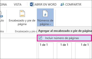 Imagen de la casilla que se selecciona para incluir la cantidad de páginas con los números de página en un documento (página X de Y).