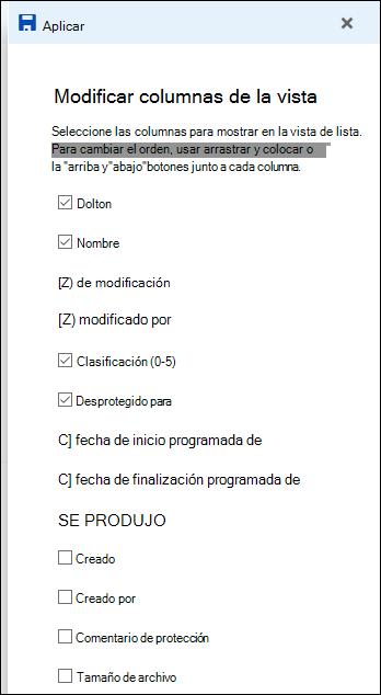Vista de lista de edición de biblioteca de documentos