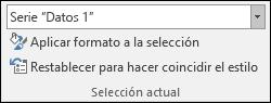 Seleccionar una opción de Series en Opciones de gráfico > Formato > Selección actual