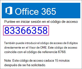 Correo electrónico de código de acceso de visor OME