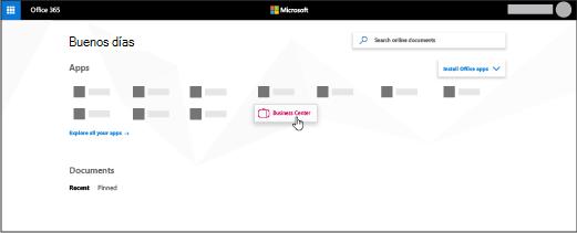 La Página principal de Office 365 con la aplicación Business Center resaltada