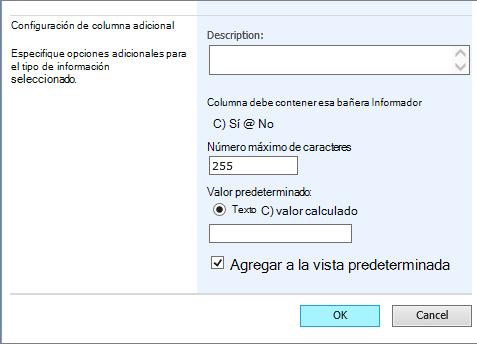 agregar opciones de configuración adicionales en la página de la columna de crear