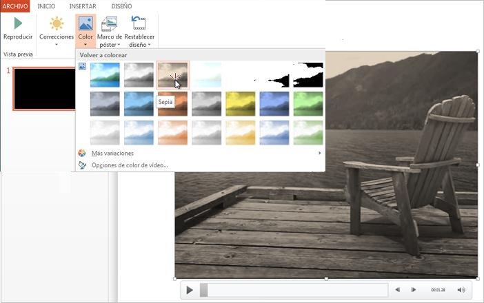 Cambiar el color de la grabación de vídeo