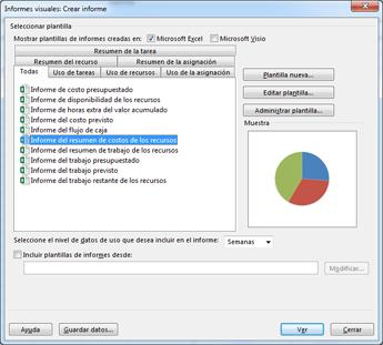 Lista de plantillas de informes visuales de Excel en el cuadro de diálogo Ver informes