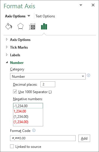 Sección de formato de número en Opciones del eje