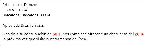 """Documento para combinar correspondencia donde se lee """"su contribución de 50 €"""" y """"le ofrece un 20 % de descuento""""."""