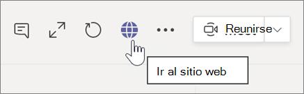 Captura de pantalla del cursor que apunta al icono de globo terráqueo y texto de información sobre herramientas ir al sitio web