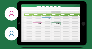 Hoja de cálculo con indicadores de presencia para cada usuario que está editando el archivo