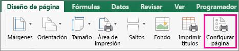 En la pestaña Diseño de página, seleccione Configuración de página