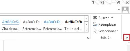 Si hace clic en la flecha situada en la parte superior derecha se contraerá la cinta de opciones.