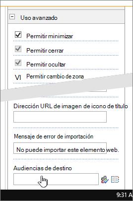 Sección Propiedades del elemento Web avanzada con audiencia de destino resaltada
