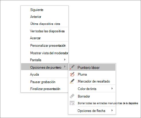 Se muestra el menú de opciones del puntero en PowerPoint