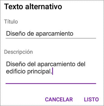 Agregar texto alternativo a imágenes en OneNote para Android