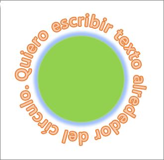 Texto curvado alrededor de una forma circular