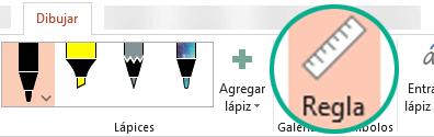 La Galería de símbolos de la regla se encuentra en la pestaña Dibujar de la cinta de PowerPoint 2016.
