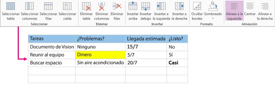 Usar la cinta de opciones de tabla