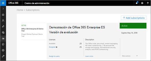 Como administrador global, iniciar sesión en portal.office.com y vaya a Administración > facturación