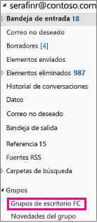 Panel de navegación de Outlook 2016 con grupos resaltados