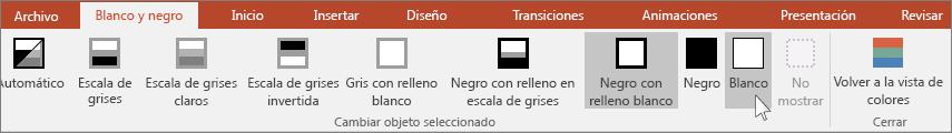 muestra el menú Cambiar objeto seleccionado en PowerPoint