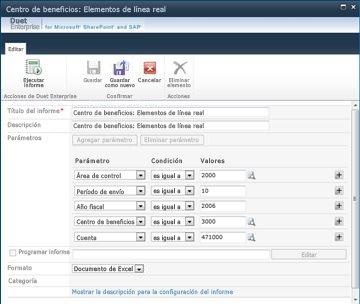 Si cuenta con los permisos apropiados, puede editar muchas opciones de configuración del informe, entre ellas el título, la descripción, la programación y los parámetros del informe.