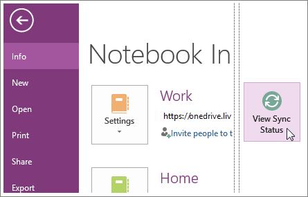 Vea el estado de sincronización de los blocs de notas de OneNote.