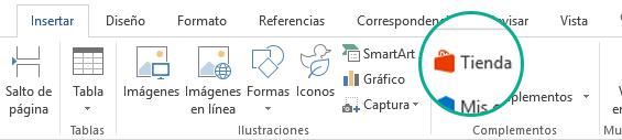 Usar el botón Tienda de la pestaña Insertar de la cinta de opciones de Office para instalar los complementos de Office