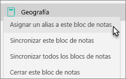 Muestra un bloc de notas de grupo con Asignar un alias a este bloc de notas seleccionado