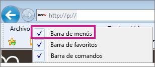 Mostrar la barra de menús en Internet Explorer