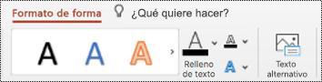 Botón texto alternativo en la cinta de opciones de una forma en PowerPoint para Mac.