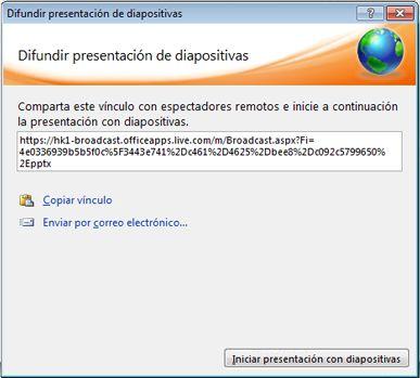Cuadro de diálogo Difundir presentación de diapositivas con una dirección URL para una presentación.
