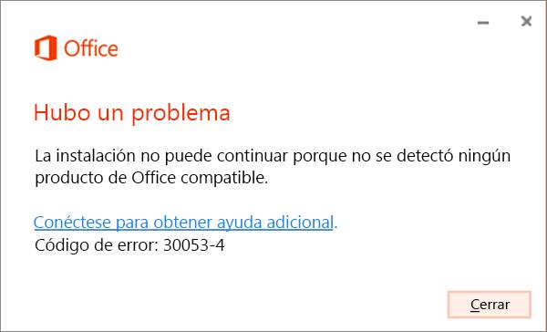 Se ha producido un problema. Mensaje de error: 30053