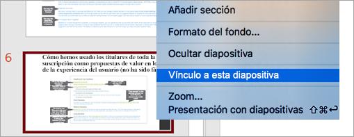 Muestra el Vincular a diapositiva en una presentación