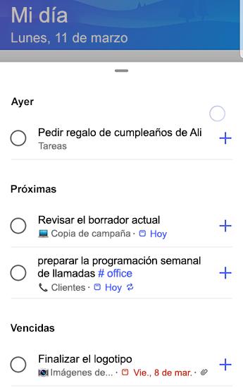 Captura de pantalla de to-do en Android con sugerencias totalmente abiertas y agrupadas por ayer, próximas y vencidas.