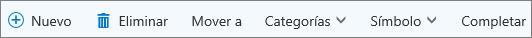 Barra de comandos de tareas de Outlook.com