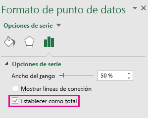 Panel de tareas Formato de punto de datos con la opción Establecer como total en Office 2016 para Windows