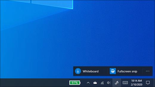 Menú del área de trabajo de Windows Ink con pizarra y opciones de esbozo & de recorte