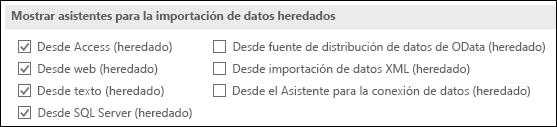 Imagen de las opciones de obtener y transformar heredado asistente desde archivo > Opciones > datos.