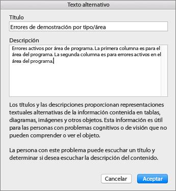 Captura de pantalla del diálogo Texto alternativo